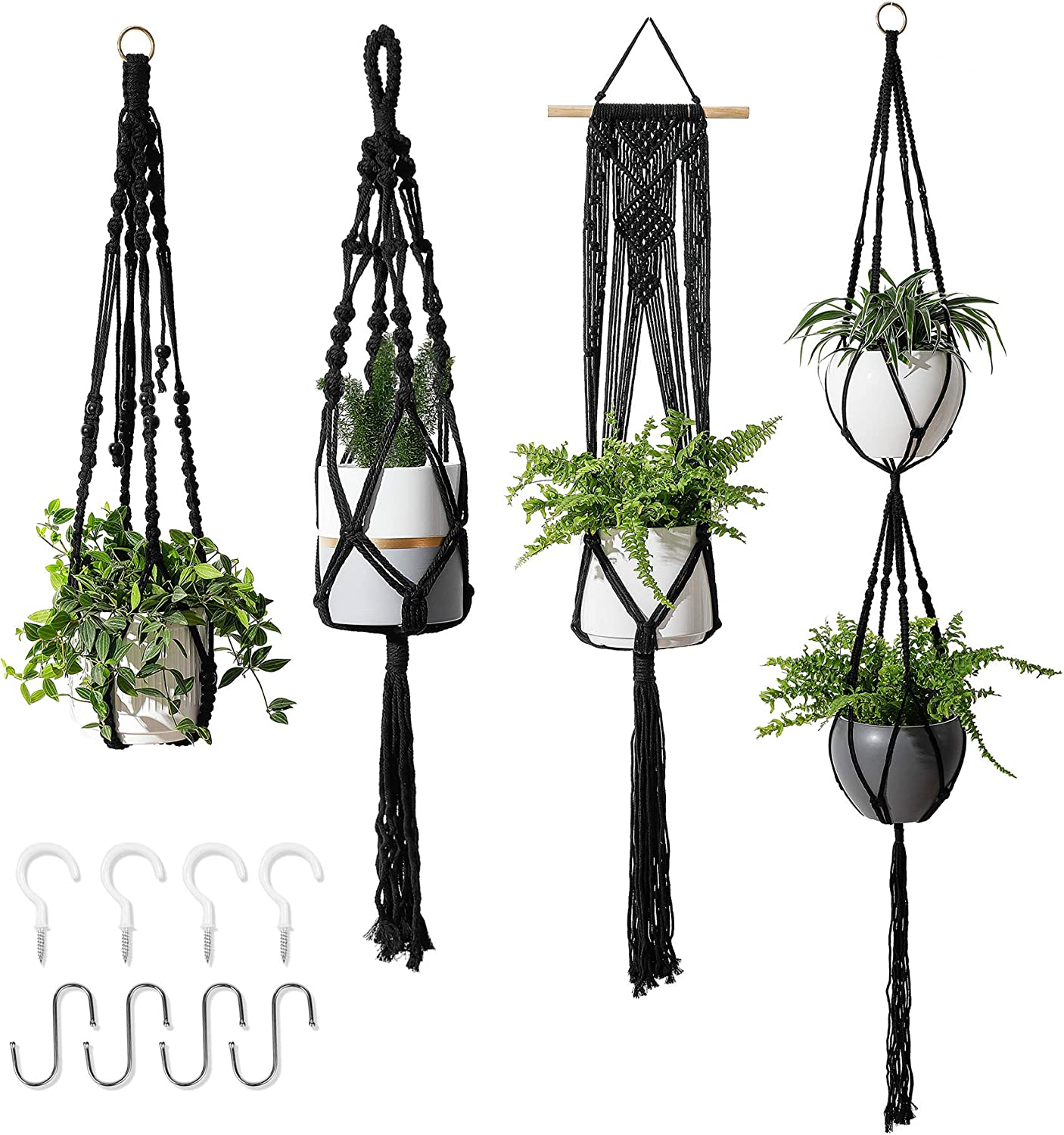 """POTEY 640101 4-Pack Macrame Plant Hangers - with 8 Hooks Hanging Planters for Indoor Plants Handmade Cotton Rope Hanging Planters Hanging Plant Holder for Boho Decor 35""""/41""""/46""""/67"""",Black"""