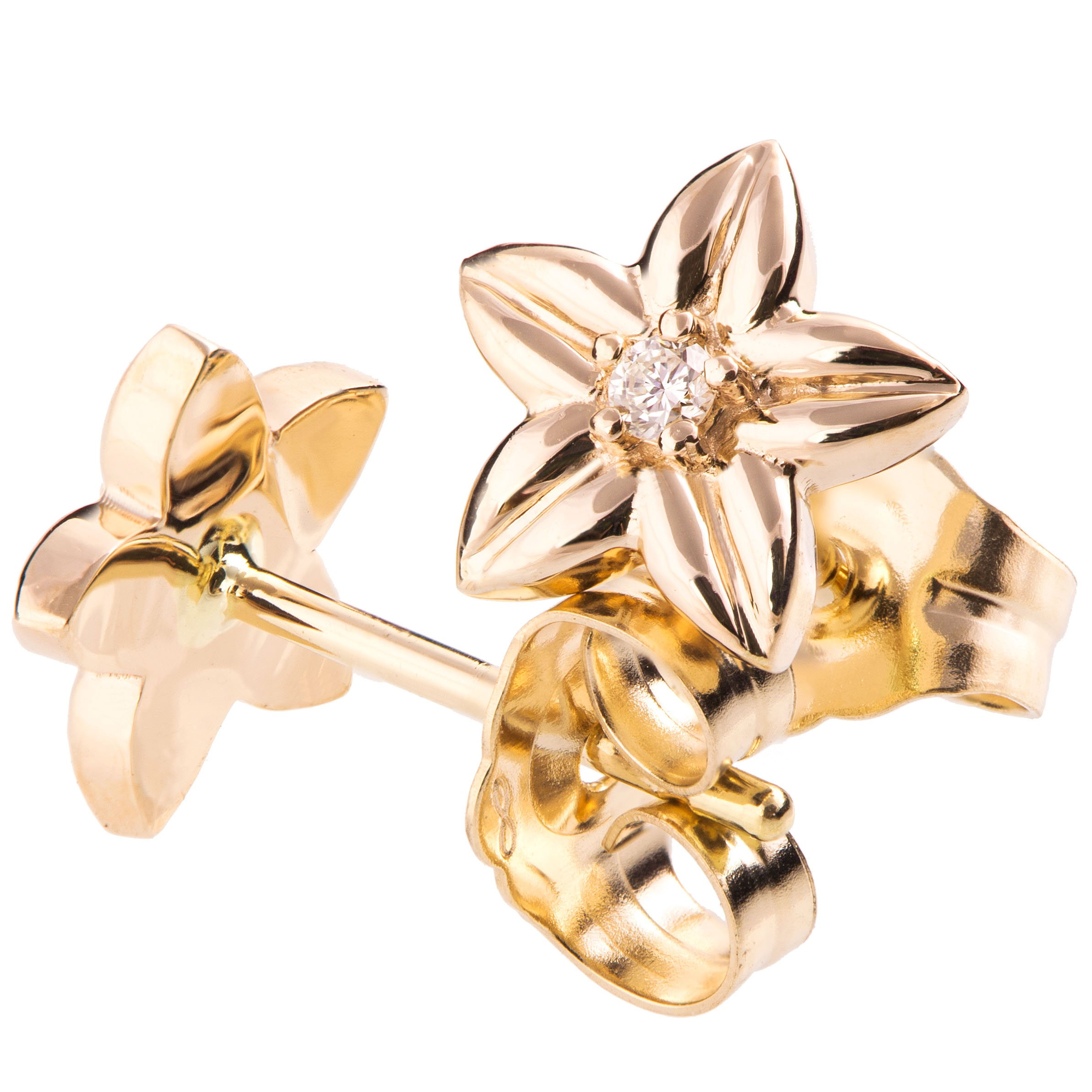 14K Solid Yellow Gold and Diamond Flower Earrings For Women Floral Post Rose Studs Gift