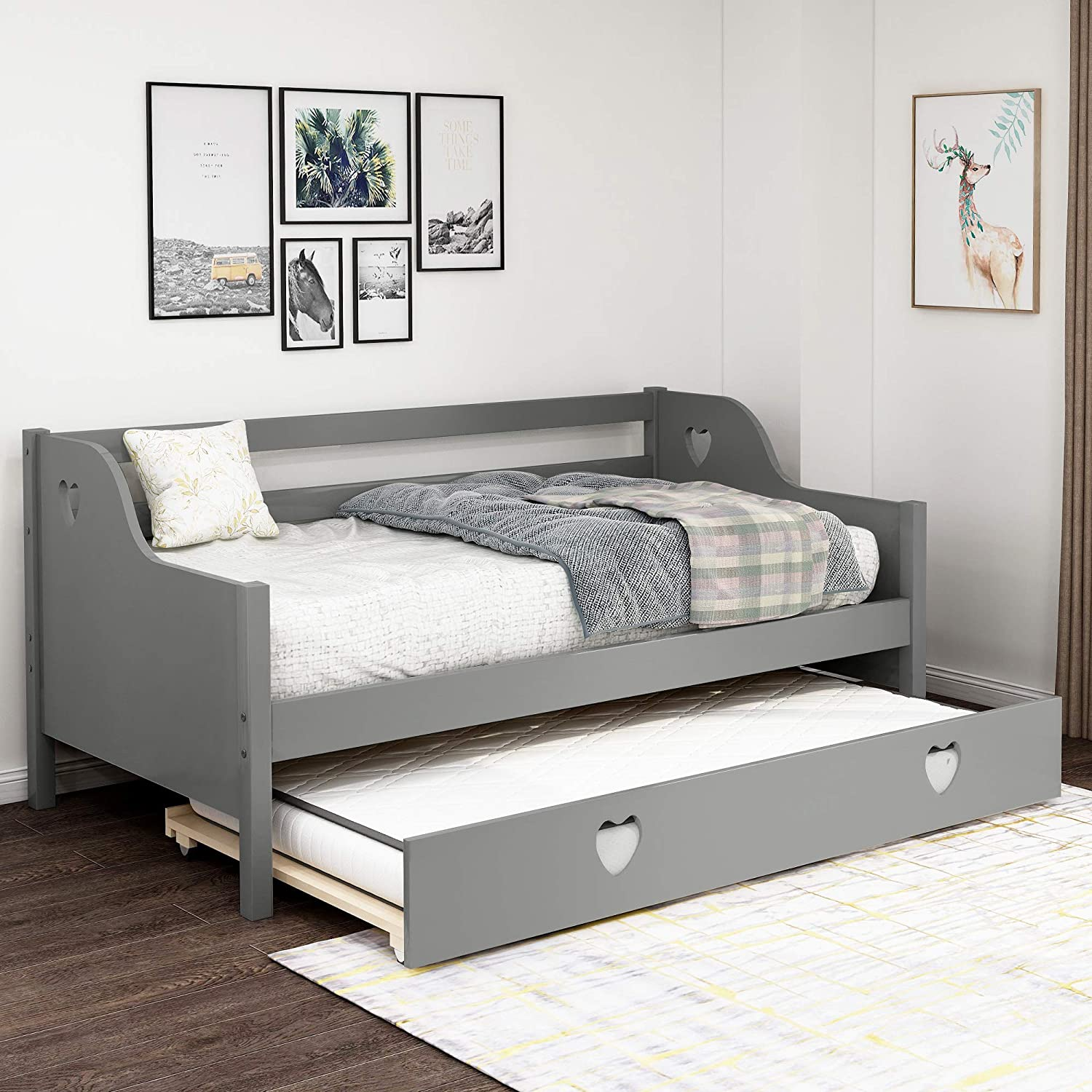 - Amazon.com: Twin Daybed, Daybed With Trundle And Rails Premium
