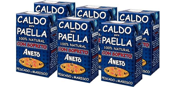 Aneto 100% Natural - Caldo para Paella de Pescado y Marisco - caja de 6