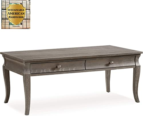 Leick Home Luna Two Drawer Coffee Table, Gray Wash