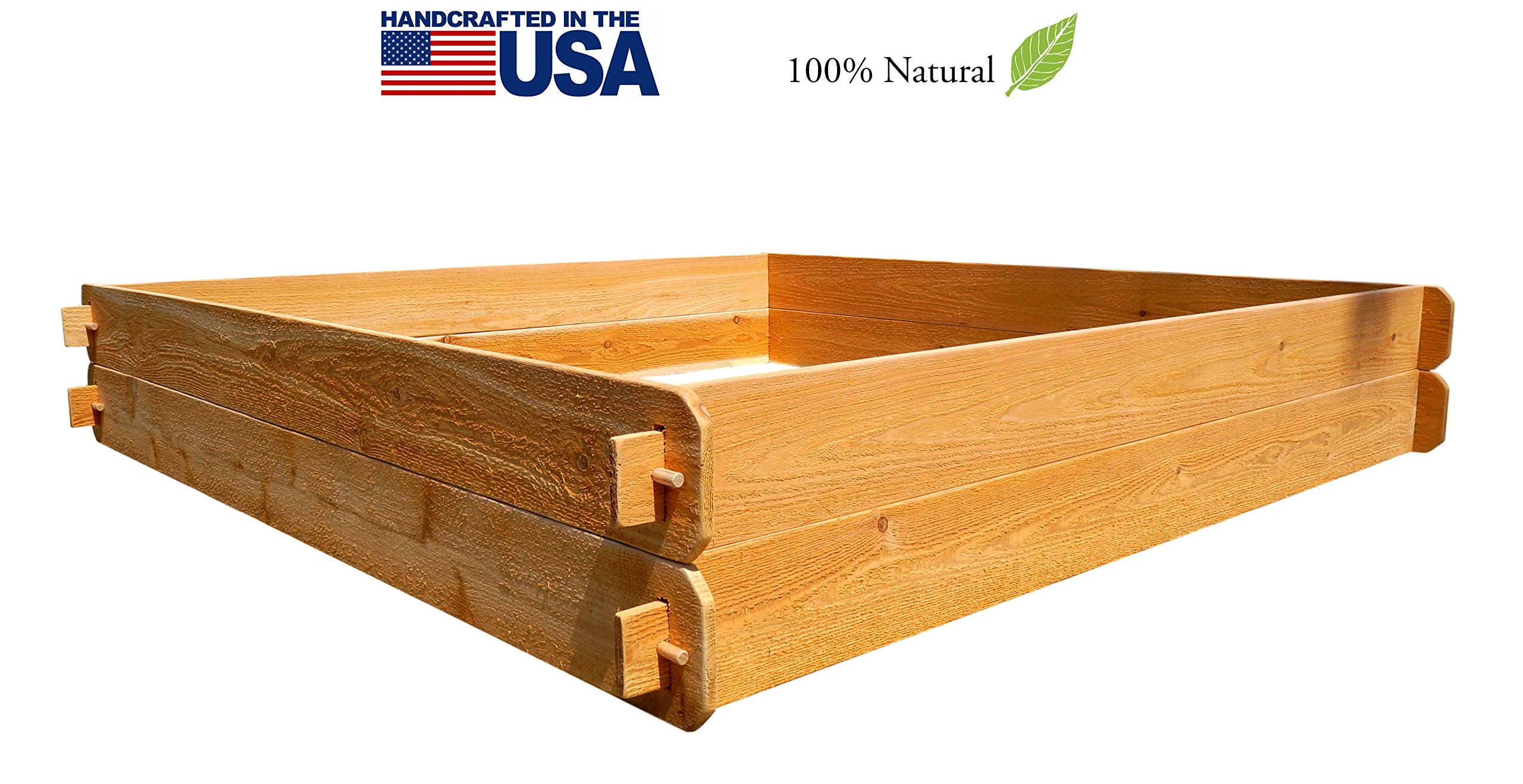 Timberlane Gardens Raised Bed Kit Large Double Deep (Two 6x6) Western Red Cedar with Mortise and Tenon Joinery 6 Feet x 6 Feet by Timberlane Gardens