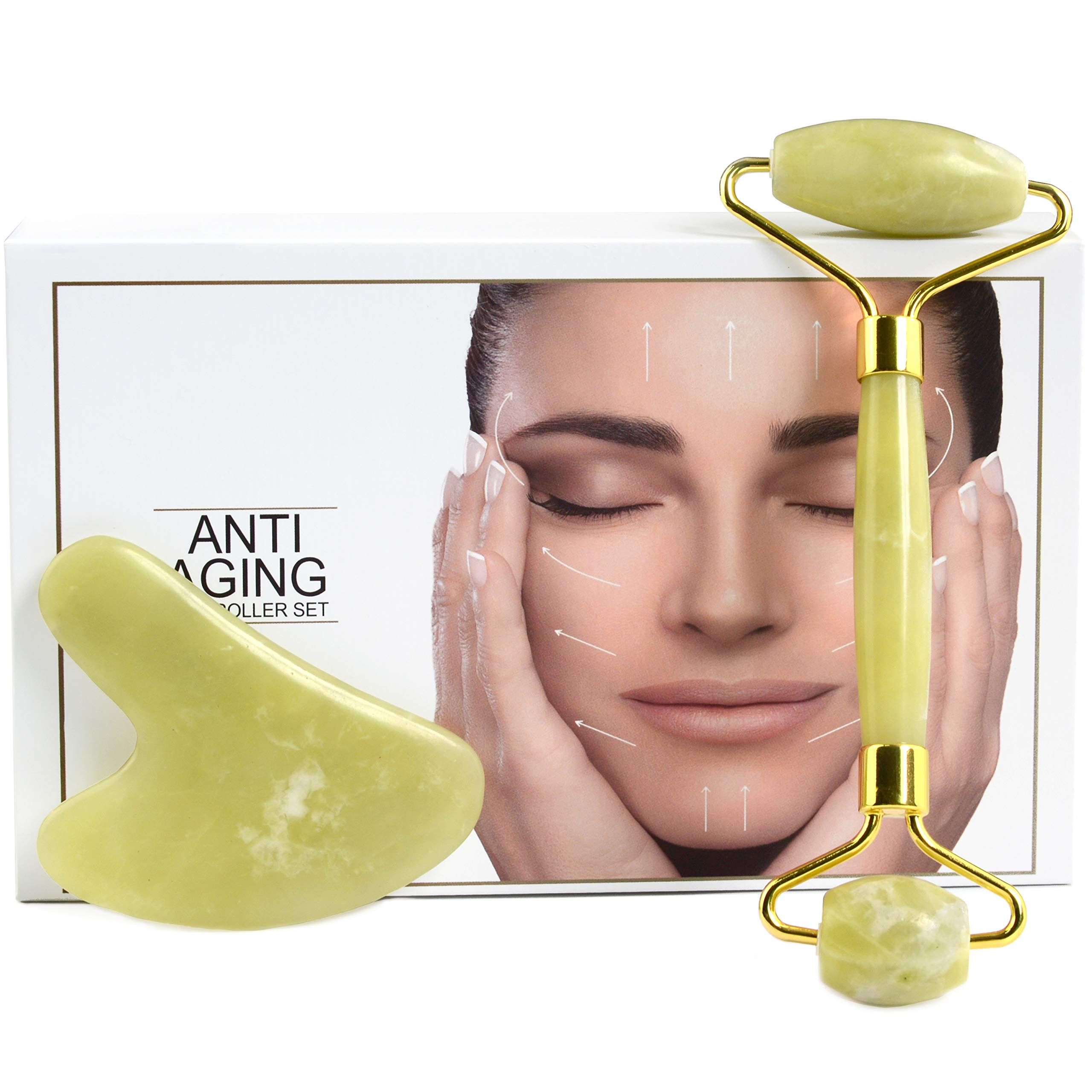 Jade Roller and Gua Sha Set - 2 in 1 Natural Facial Jade Roller and Gua Sha Facial Tool Massager for Anti-Aging, Wrinkles, Slimming, Scraping and Facial Therapy
