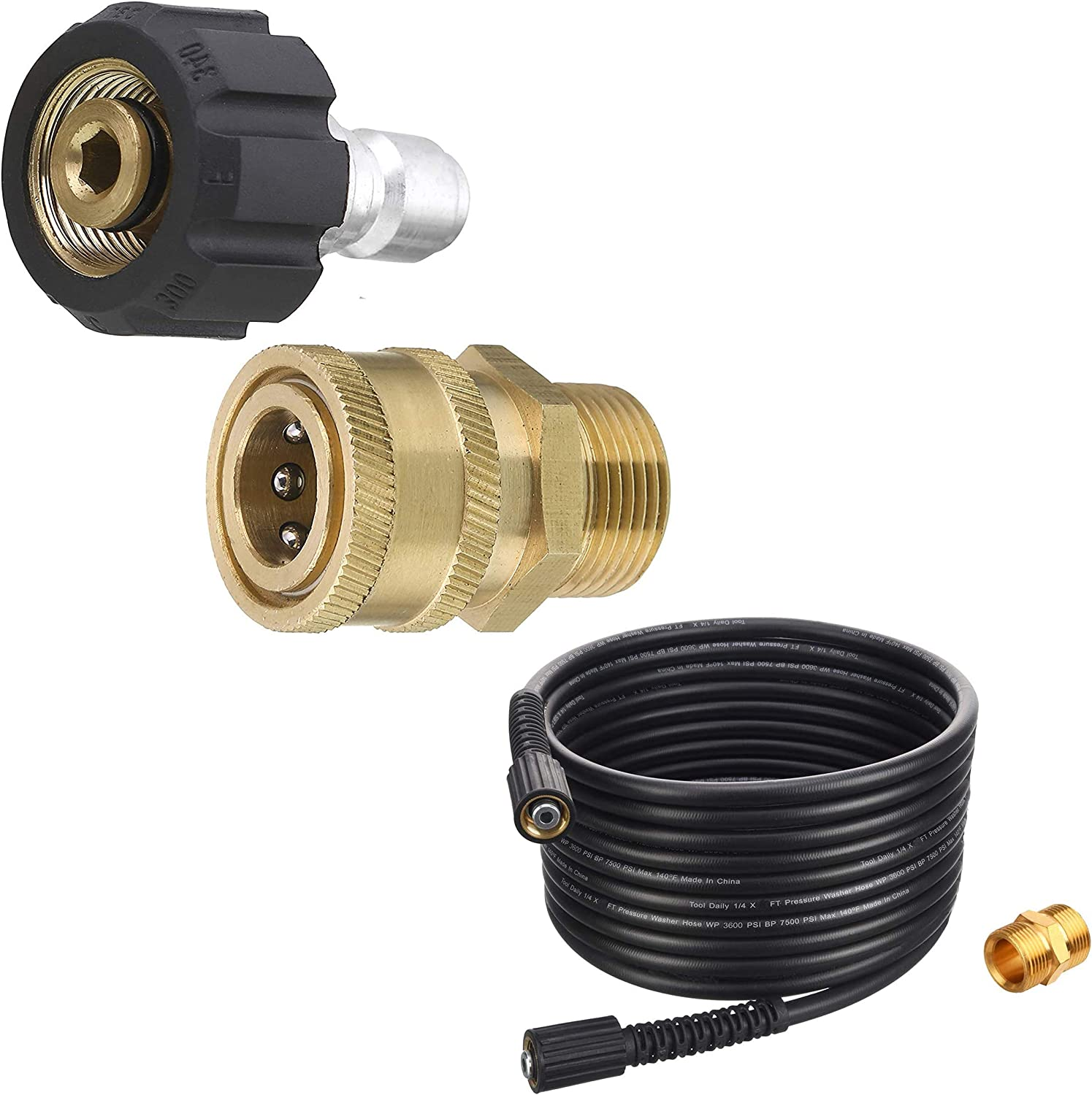 Tool Daily Pressure Washer Adapter Set, High Pressure Washer Hose, 25 FT X 1/4 Inch