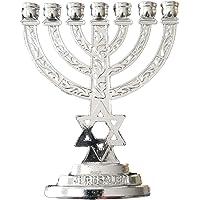 Jerusalem Silver Magen David Star of David 7 Branch Menorah 4″ high