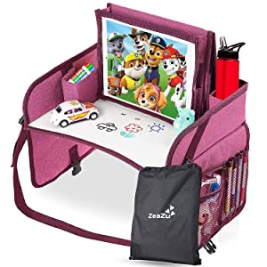 Kids Travel Tray with Bag - Foldable Compact Lap Car Seat Table Desk with Dry Erase Board, iPad Holder, Backseat Essential Storage Organizer for Toddler and Child Road Trip and Airplane