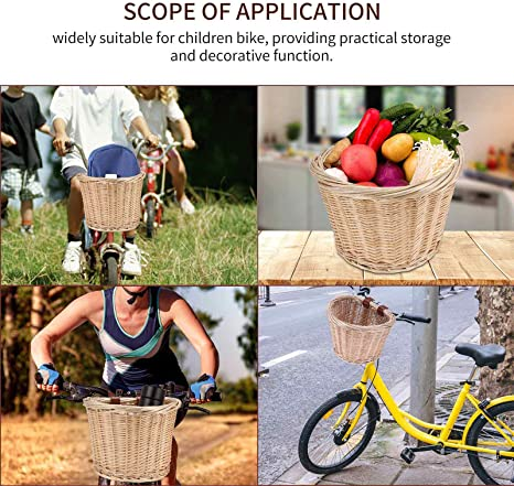 Bicycle Storage Container Basket With Leather Straps Front Handlebar Wicker Rattan Woven Bicycle Basket Bicycle Wicker Blue For Childrens Boys Girls Bike bozitian Woven Bicycle Basket