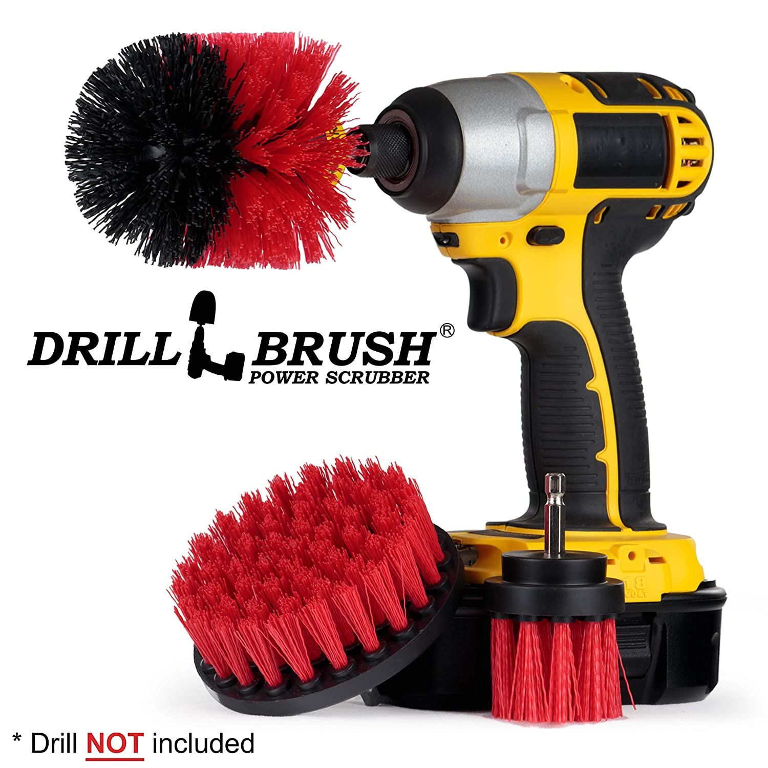 Drill Brush – Drill Scrubber Attachment – Brush for Drill – Drill Brush Rims – Brush Scrubber – Power Scrubber Brush – Carpet Drill Brush – Bathtub Cleaner – Grout Brush – Drill Brush Attachment Set