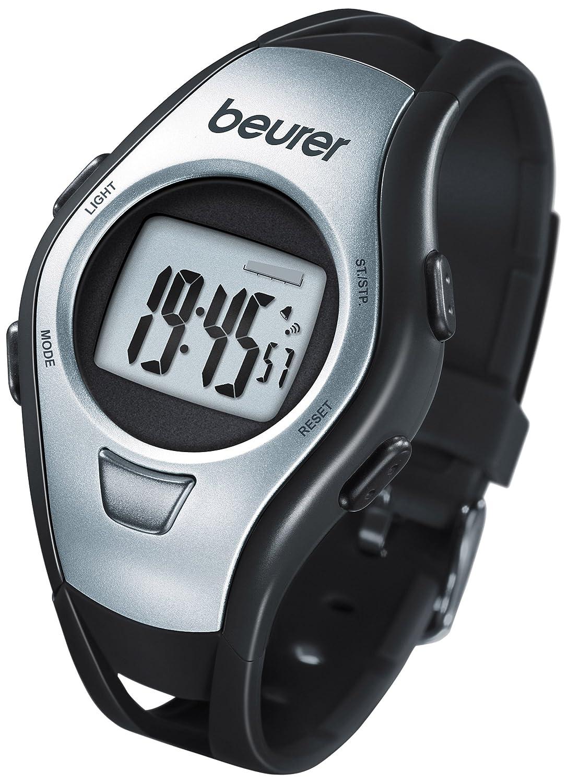 Beurer PM-15 - Pulsímetro sin correa pectoral, medidor ritmo cardiaco, cronómetro, color negro y plata