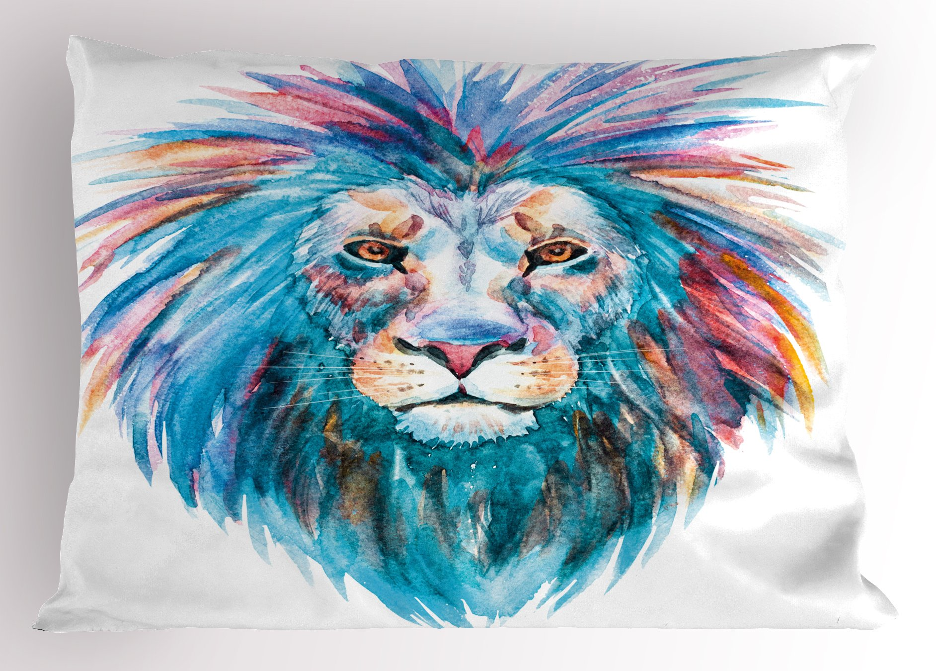 Lunarable Sketchy Pillow Sham, Wildlife Watercolor Effect Portrait Safari Animal Lion Illustration Print, Decorative Standard King Size Printed Pillowcase, 36 X 20 inches, Sky Blue Light Pink
