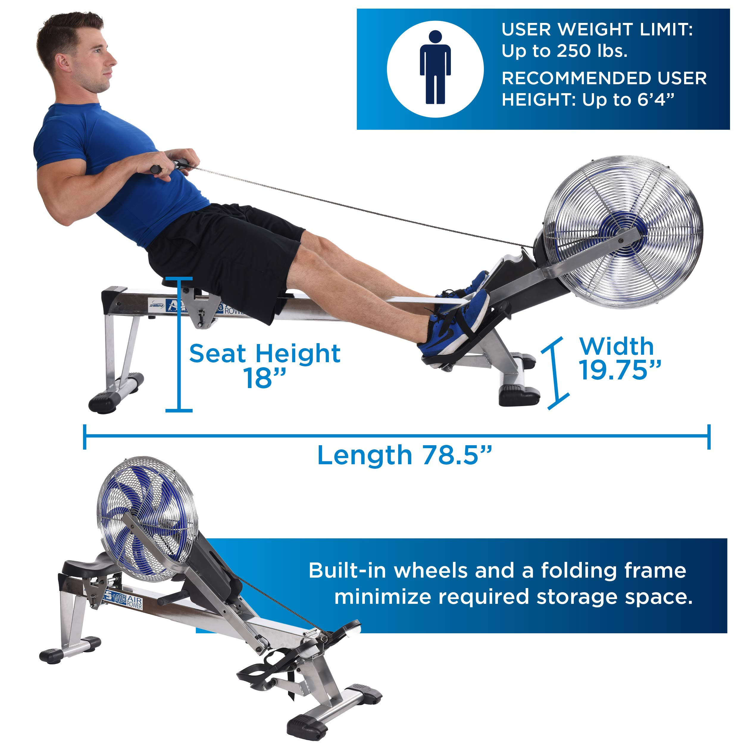 Stamina 35-1405 ATS Air Rower 1405 Rowing Machine, Air Resistance, LCD Fitness Monitor, Folding and Built-in Wheels, Chrome/Blue/Black by Stamina (Image #7)