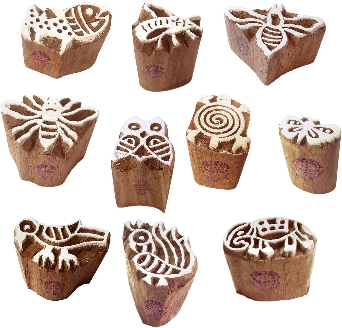 Rural Wood Blocks Snowflake Designs Printing Stamps