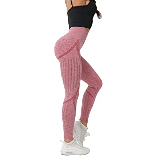 Women's High Waist Seamless Leggings Ankle Yoga Pants Squat Proof Workout Tight Pink