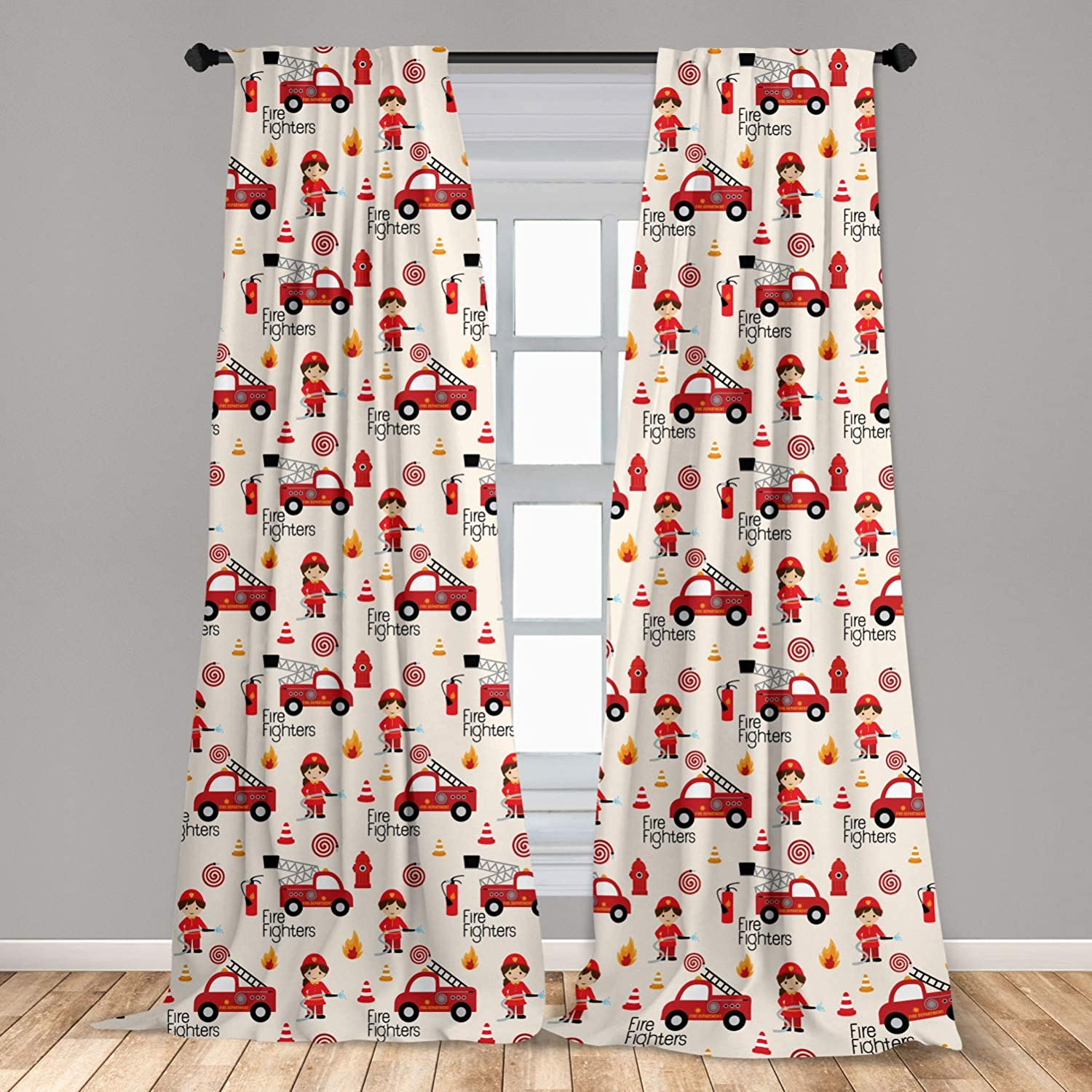 "Lunarable Fire Truck Curtains, Little Boys and Girls in Uniforms Fire Fighters Theme Career Profession Pattern, Window Treatments 2 Panel Set for Living Room Bedroom Decor, 56"" x 84"", Red Cream"