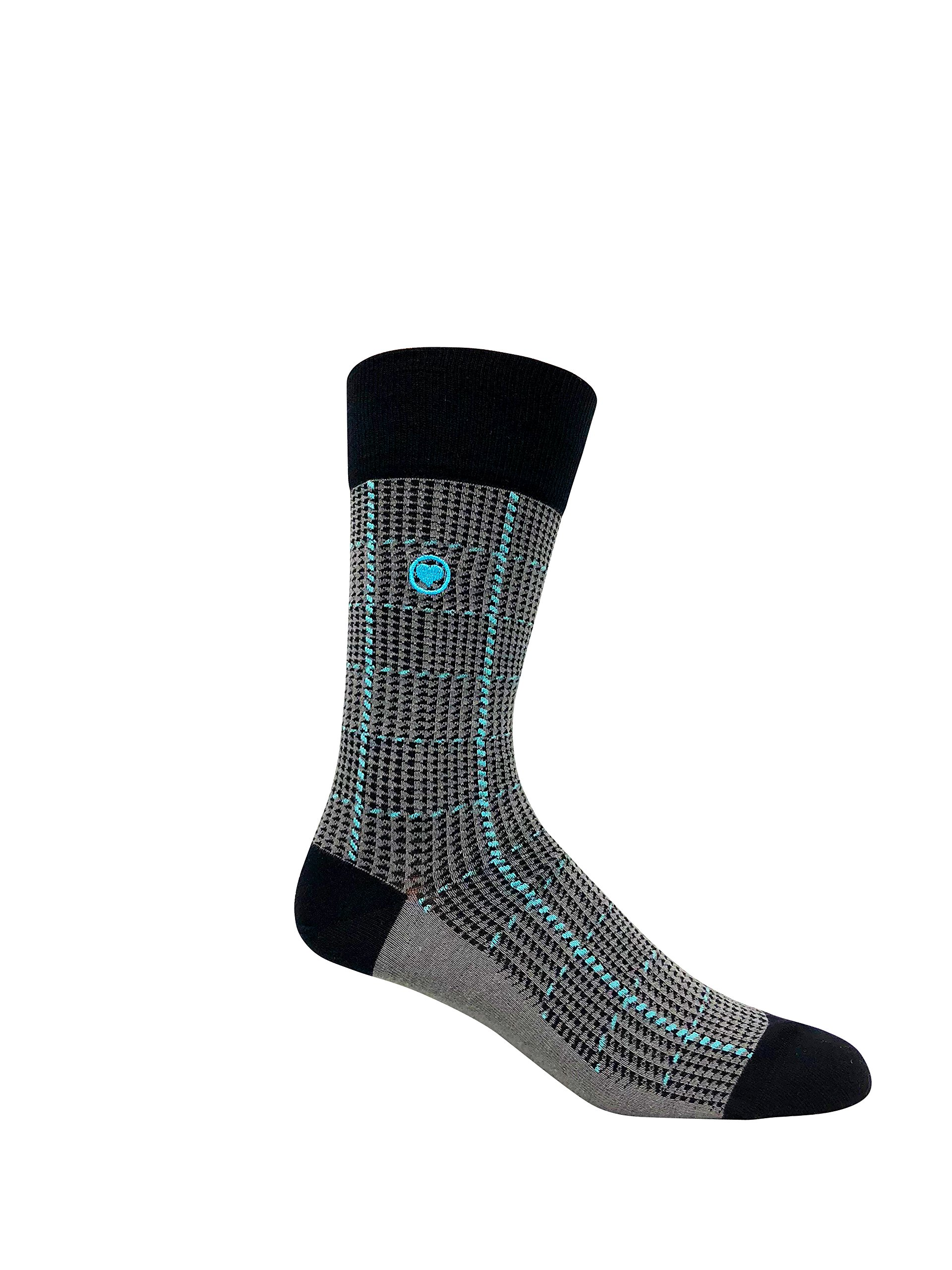 LOVE SOCK COMPANY Black Organic cotton men's dress socks bundle. 3 Premium black socks solid, polka dots and houndstooth patterned socks set by LOVE SOCK COMPANY (Image #5)