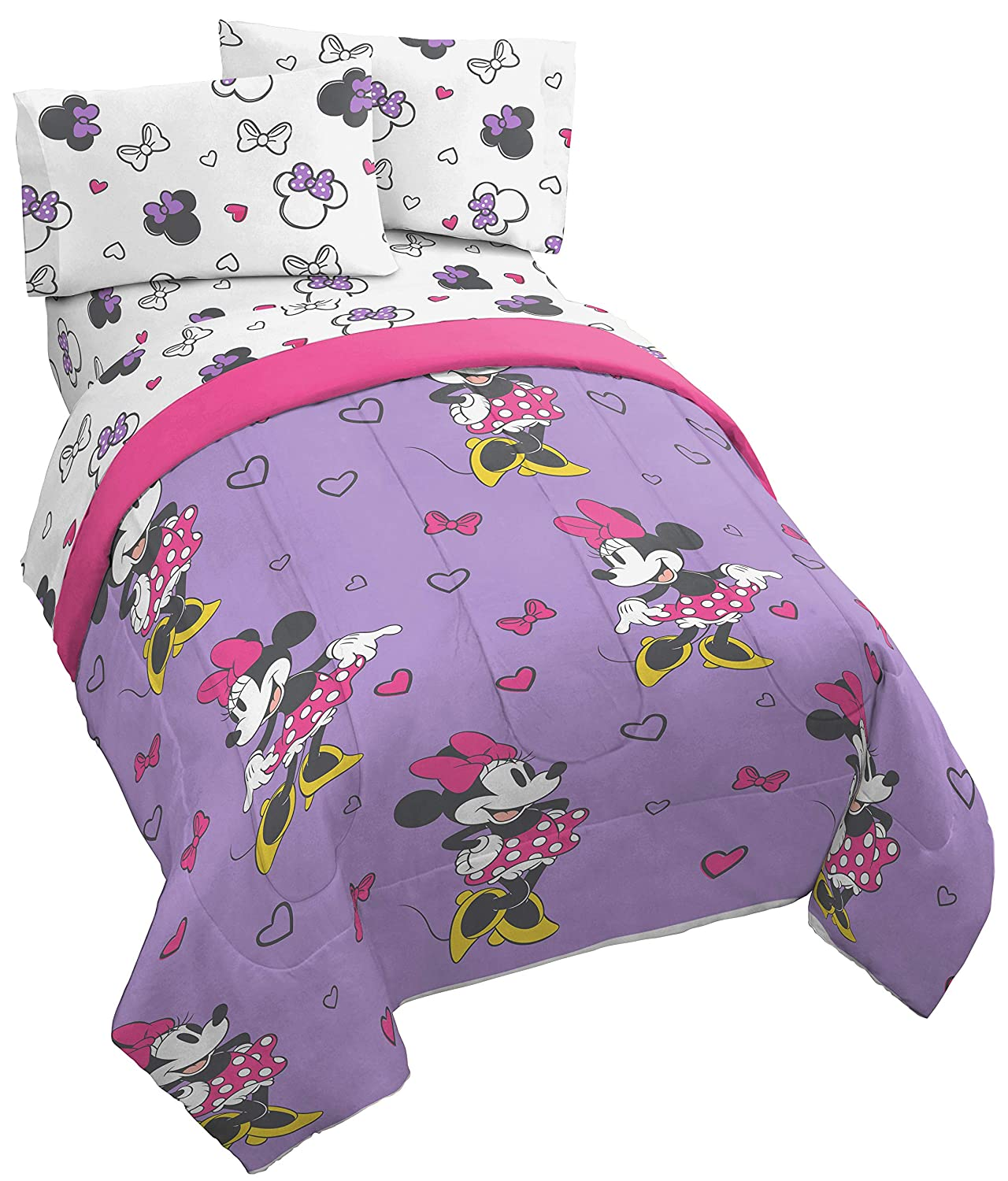 Jay Franco Disney Minnie Mouse Purple Love Twin Bed in A Bag - Super Soft Kids Reversible Bedding - Fade Resistant Polyester Microfiber Fill (Official Disney Product)