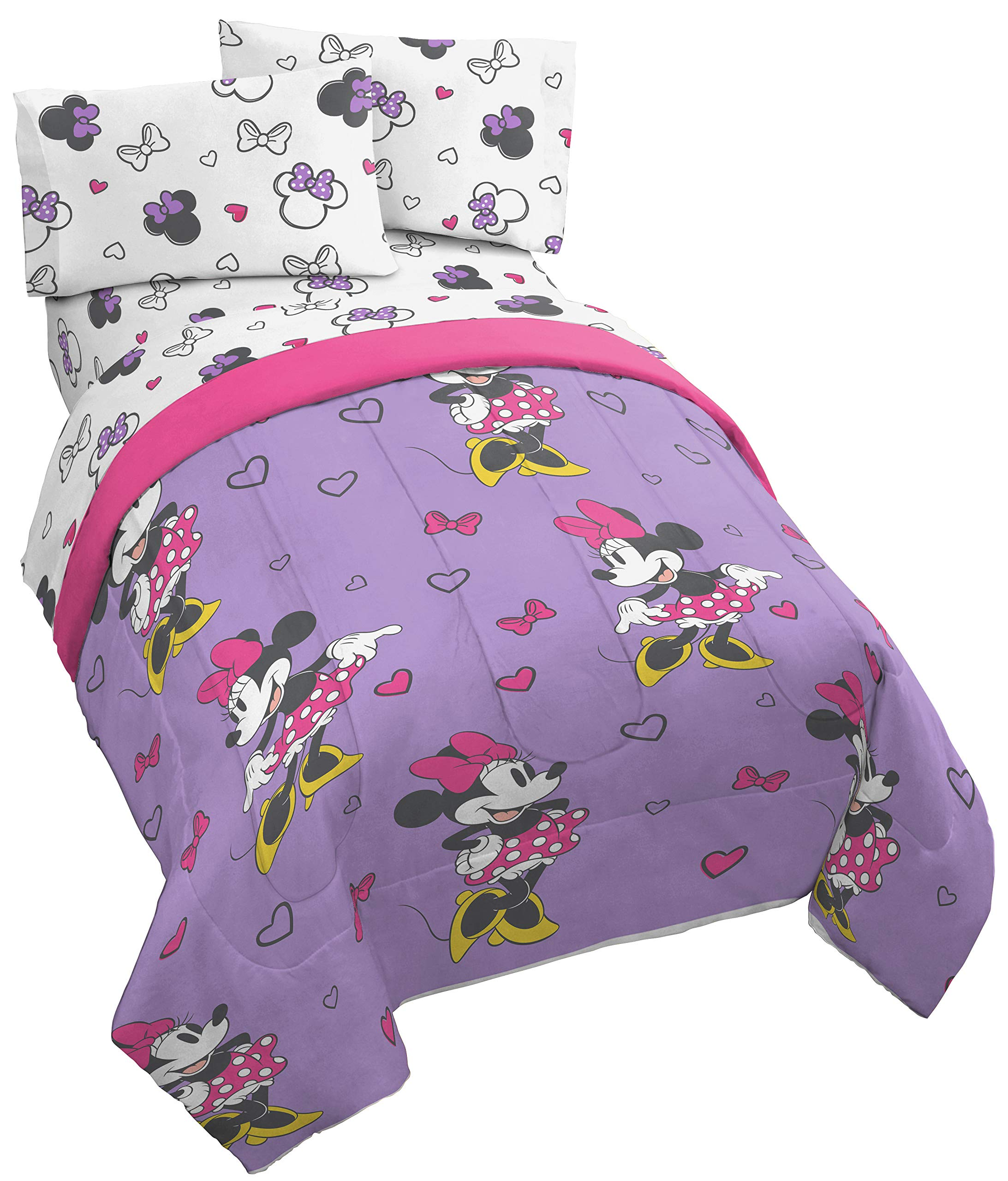 Disney Minnie Mouse Purple Love 5 Piece Full Bed Set - Includes Reversible Comforter & Sheet Set - Super Soft Fade Resistant Polyester - (Official Disney Product)