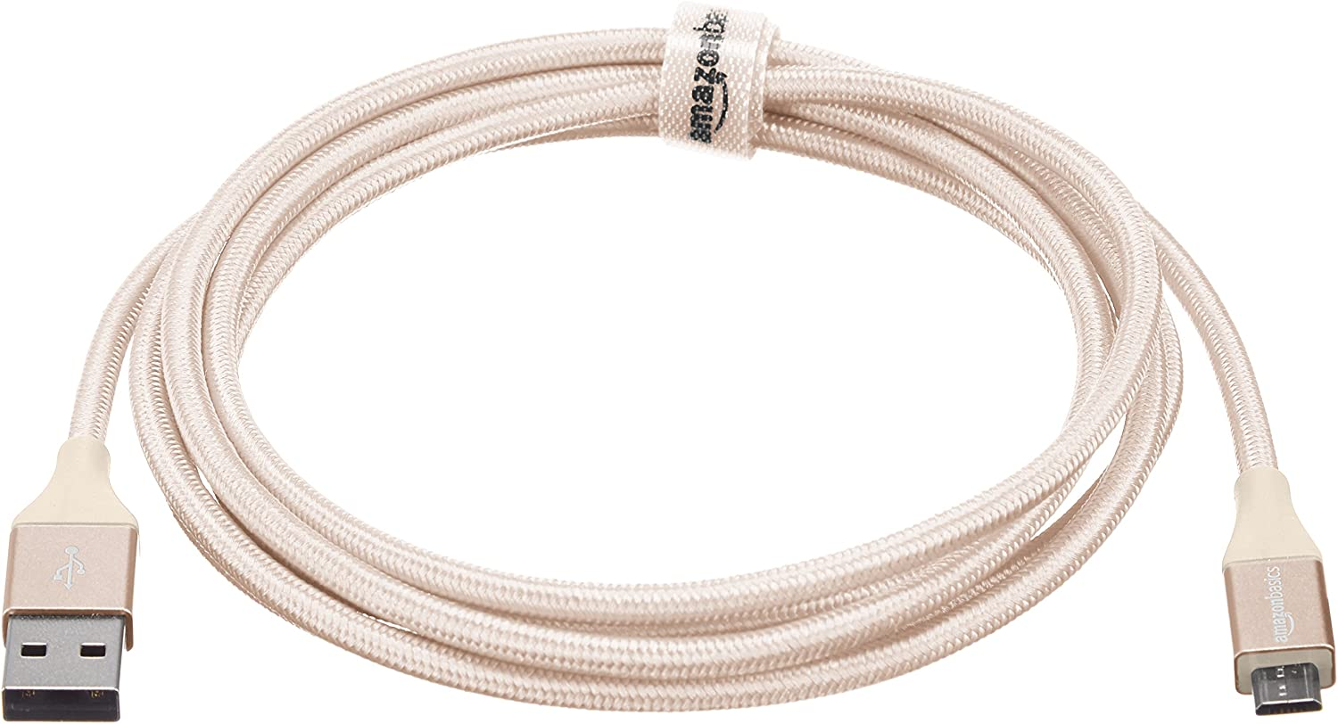 Amazon Basics Double Braided Nylon USB 2.0 A to Micro B Charger Cable | 6 Feet, Gold