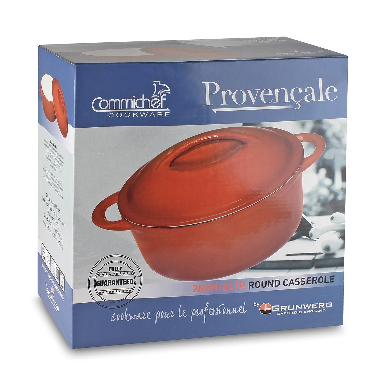 Flame Rot Fonte 2L Provencale Professional Cocotte en Fonte Ronde Rouge Poign/ées /& Couvercle avec Sangle
