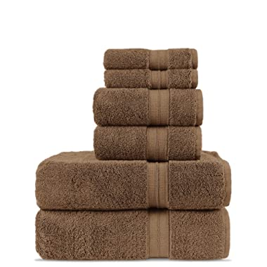 Luxury Premium Turkish Cotton 6-Piece Towel Set, Long-Stable 20/2, 2 Ply Turkish Ring-Spun Cotton Yarn Makes The Luxe-Factor, Eco-Friendly, (Cocoa)