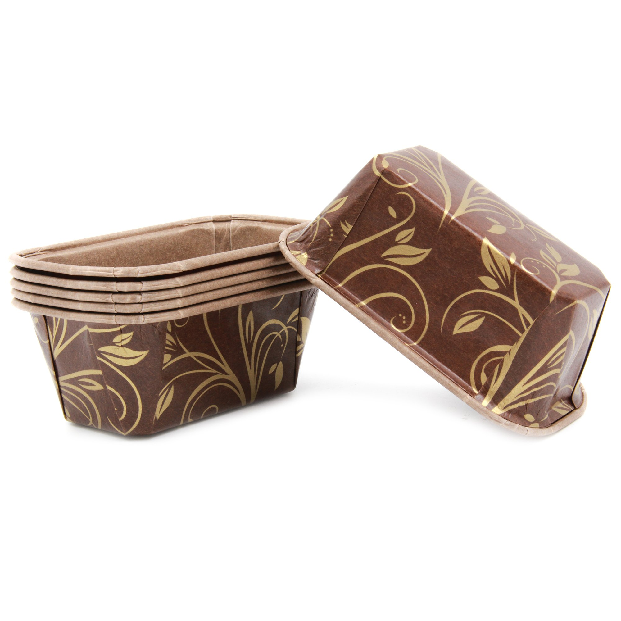 Premium Personal Mini Size Paper Baking Loaf Pan, Perfect for Chocolate Cake, Banana Bread, Brown & Gold, Set of 300 - by EcoBake by Ecobake