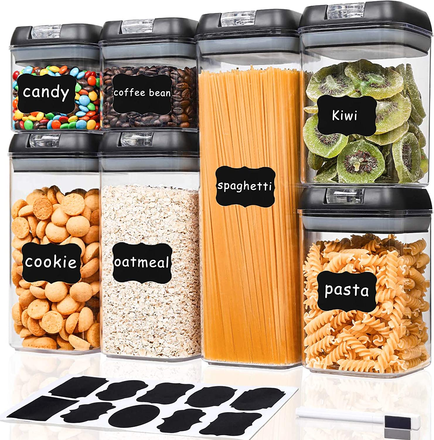 TIANGR Airtight Food Storage Containers Set 7Pcs - BPA Free Plastic Cereal & Dry Food Canister With Easy Lock Lids - Kitchen Pantry Storage for Snacks,Spaghetti,Bean - Include Labels & Marker