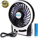 Portable Rechargeable Personal Fan, 3 Speeds Desk Table fan, Mini USB Fan for Laptop/Desktop , Outdoor Small Fan with LED Light