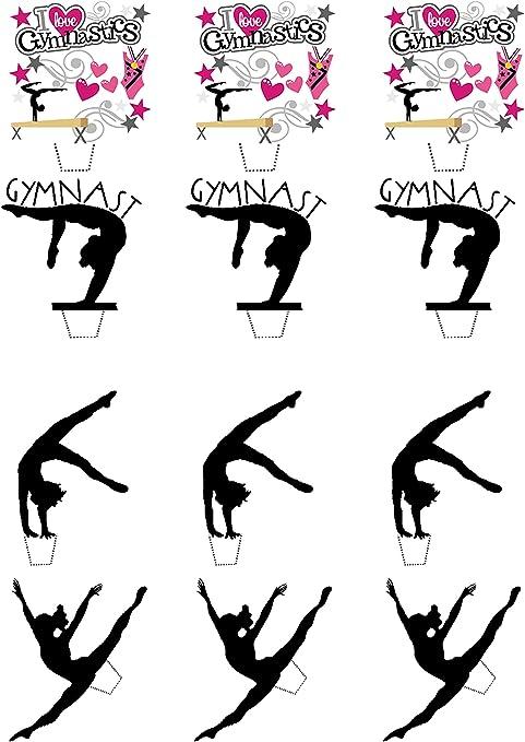 12 unidades Gimnasta gimnasia//Siluetas/ /Decoraci/ón para tarta para comestible stand-up Cupcake de oblea toppers