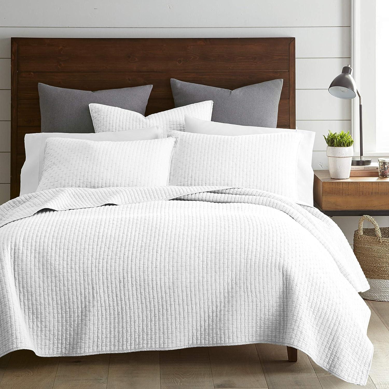 Amazon Com Levtex Home Cross Stitch Quilt Set 100 Cotton Twin 68x86in 1 Standard Shams 26x20in Bright White Kitchen