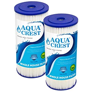 AQUACREST FXHSC Water Filter, Compatible with GE FXHSC, Culligan R50-BBSA, Pentek R50-BB and DuPont WFHDC3001, American Plumber W50PEHD, GXWH40L, GXWH35F Whole House Filter (Pack of 2)