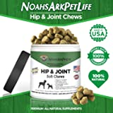 Noah's Ark Pet Life Hip and Joint Supplement for Dogs, Soft Chews, Glucosamine Chondroitin MSM, Premium All Natural. Organic Turmeric, Vitamins C & E, Bacon Flavor Treat, 90 Ct