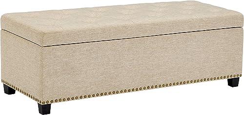 First Hill Thomas Rectangular Storage Ottoman Bench, Large, Natural