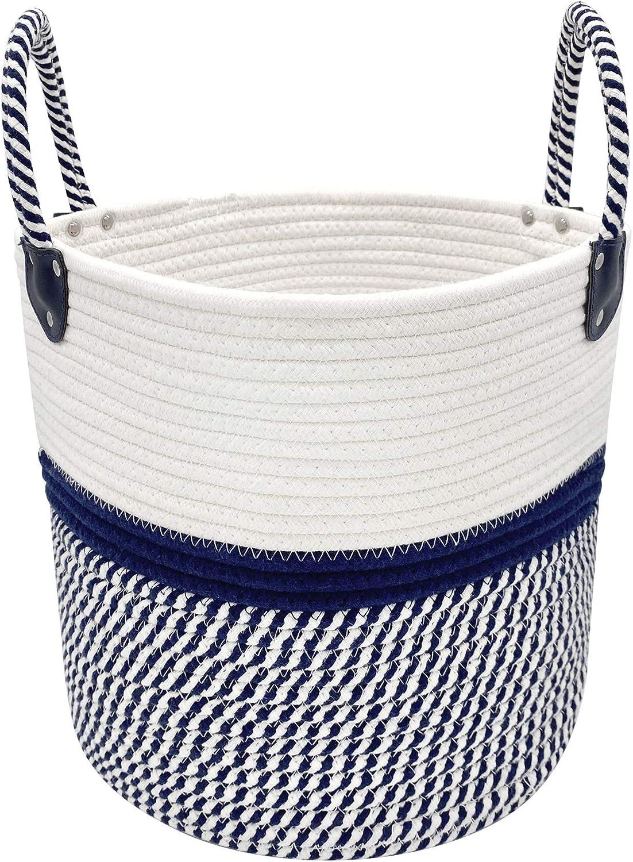 MHB Large Blanket Basket, Decorative Woven Basket Storage Basket with Handles, Laundry Basket Bathroom,Toys and Clothing Organization