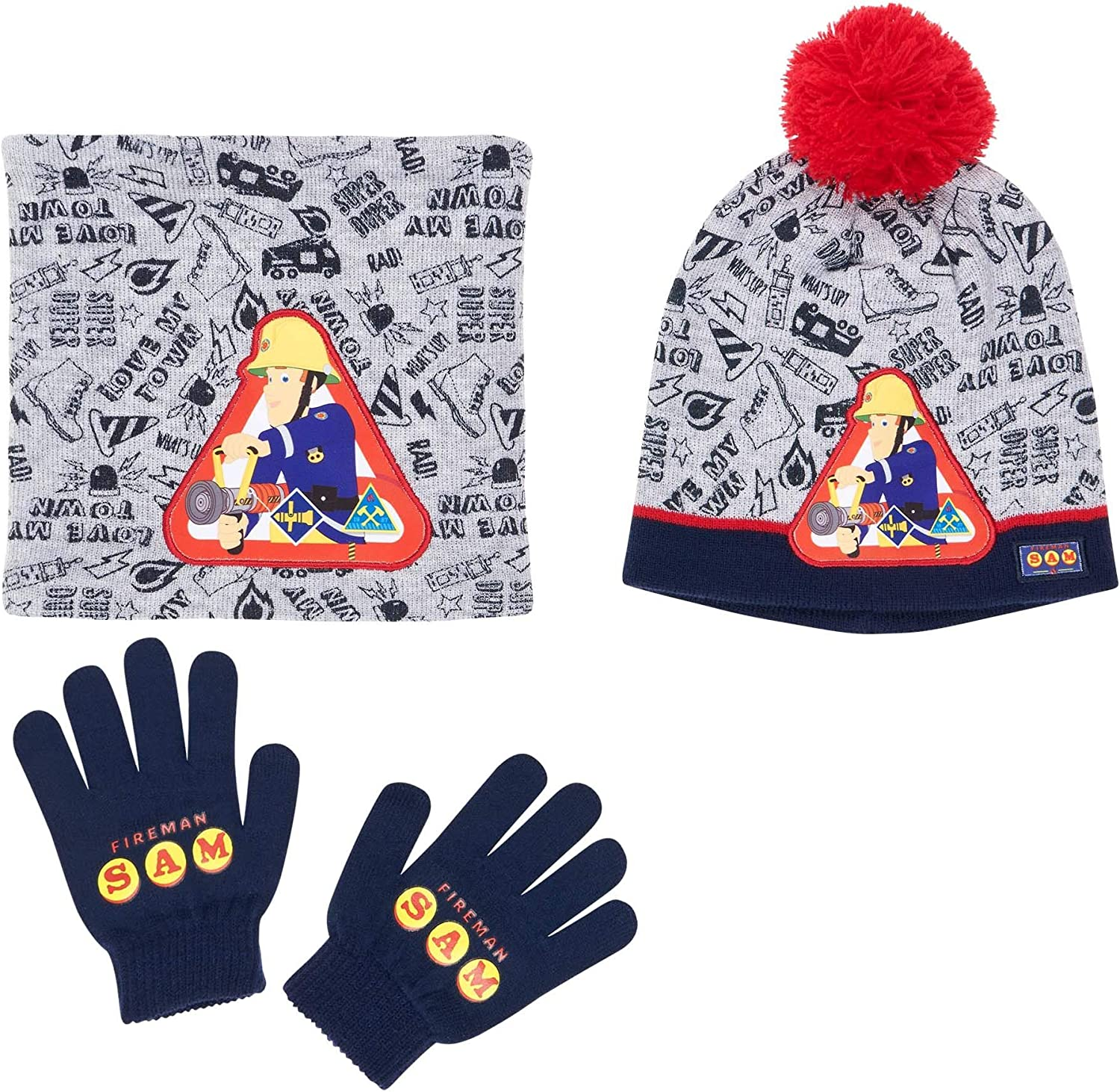 Hat and Gloves grey Fireman Sam 3 pieces set Scarf