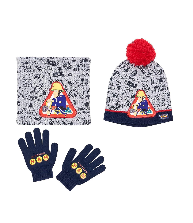 Fireman Sam 3 pieces set: Scarf, Hat and Gloves grey LamaLoLi