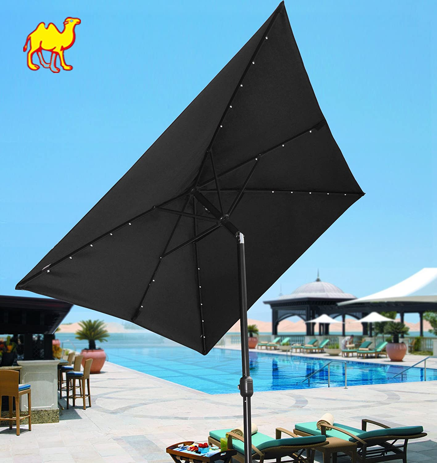 Wonderful Rectangular Patio Umbrella With Solar Lights Part   8: Amazon.com  : Strong