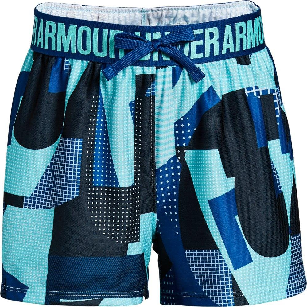 Under Armour Girls Play Up Printed Shorts, Tropical Tide /Tropical Tide, Youth Medium