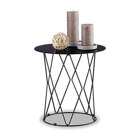 Relaxdays Beistelltisch Schwarzglas Rund Glas Tischplatte