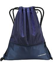 Kopack Gymsack Sackpack Foldable Picnic Mat, Drawstring Gym Bag With Pockets Zippered baseball Black (Sackpack blue)