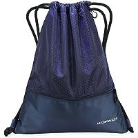 Kopack Gymsack Sackpack Foldable Picnic Mat, Drawstring Gym Bag with Pockets Zippered Baseball Black