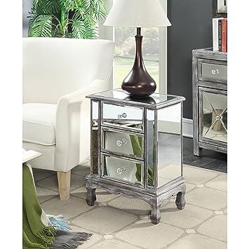 CEC Gold Coast Vineyard 3 Drawer Mirrored End Table, Elegant Design, 3  Drawers