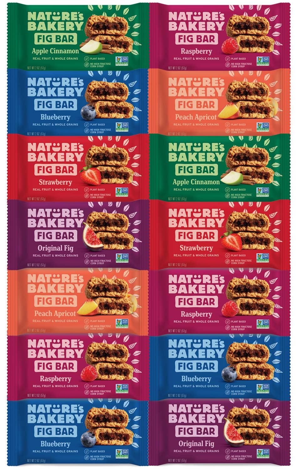 Nature's Bakery Stone Ground Whole Wheat Fig Bar Variety Pack Sampler, All Natural NON GMO Snack Food by Variety Fun (14 Count) by Custom Varietea (Image #1)