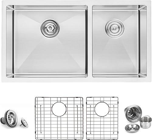 BAI 1228 Stainless Steel 16 Gauge Kitchen Sink Handmade 33-inch Undermount Double Bowl
