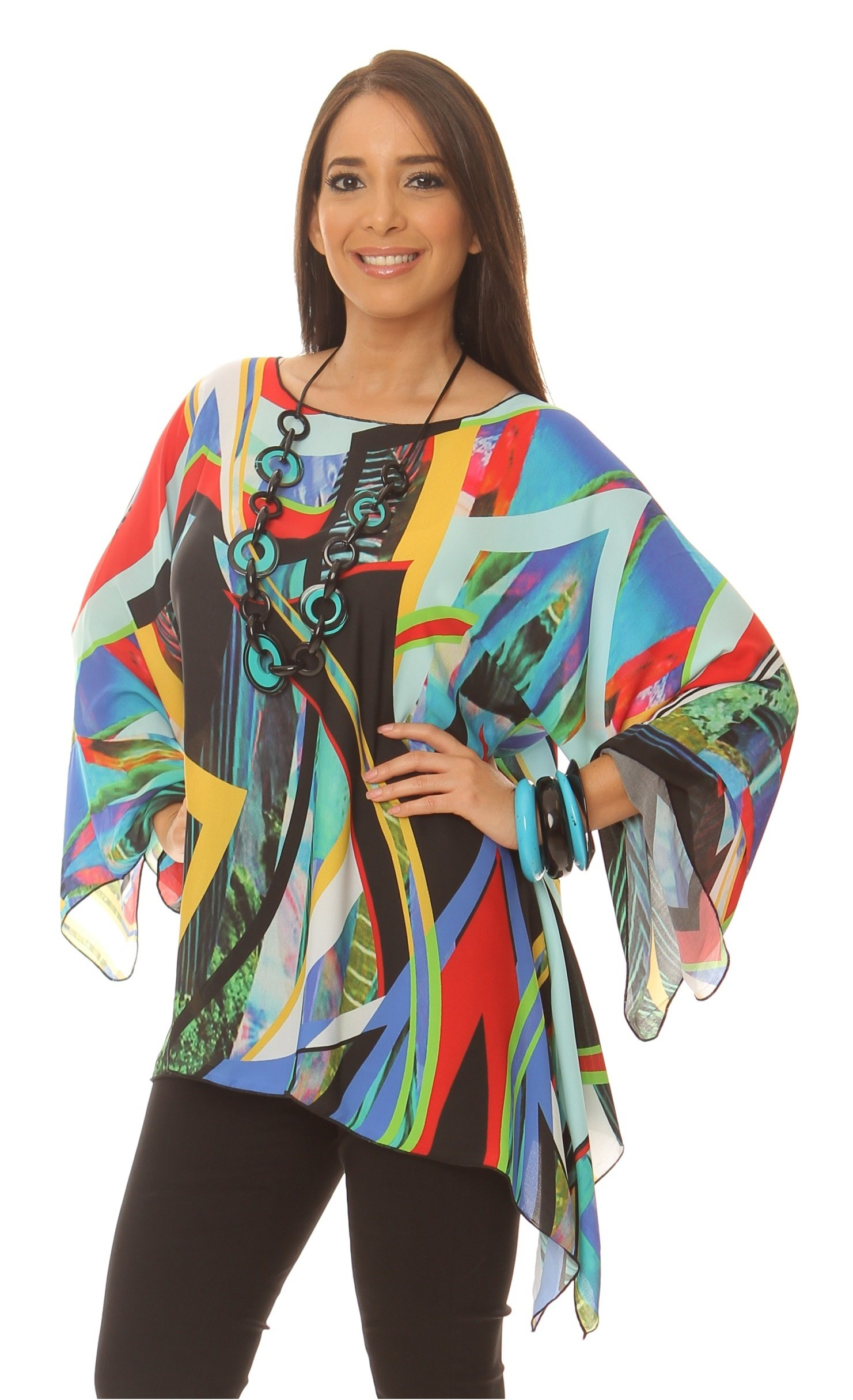 Lior Paris Abstract Picasso Style Printed Charmeuse Convertible Tunic. (ONE SIZE)