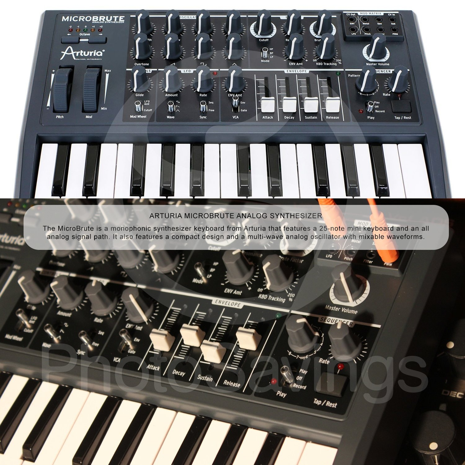 Arturia Microbrute 25-Note Mini Keyboard Analog Synthesizer and Accessory Bundle w/Stereo Headphones + Adapter + Cables by Photo Savings (Image #2)