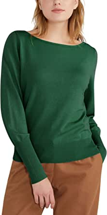 MessBebe Jersey de Punto para Mujer Ligero Suéter Elegante Manga Larga Camiseta Monocromático Sudadera Otoño Invierno