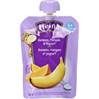 HEINZ Strained  Banana, Mango & Yogourt Pouch, 6 Pack, 128ML Each