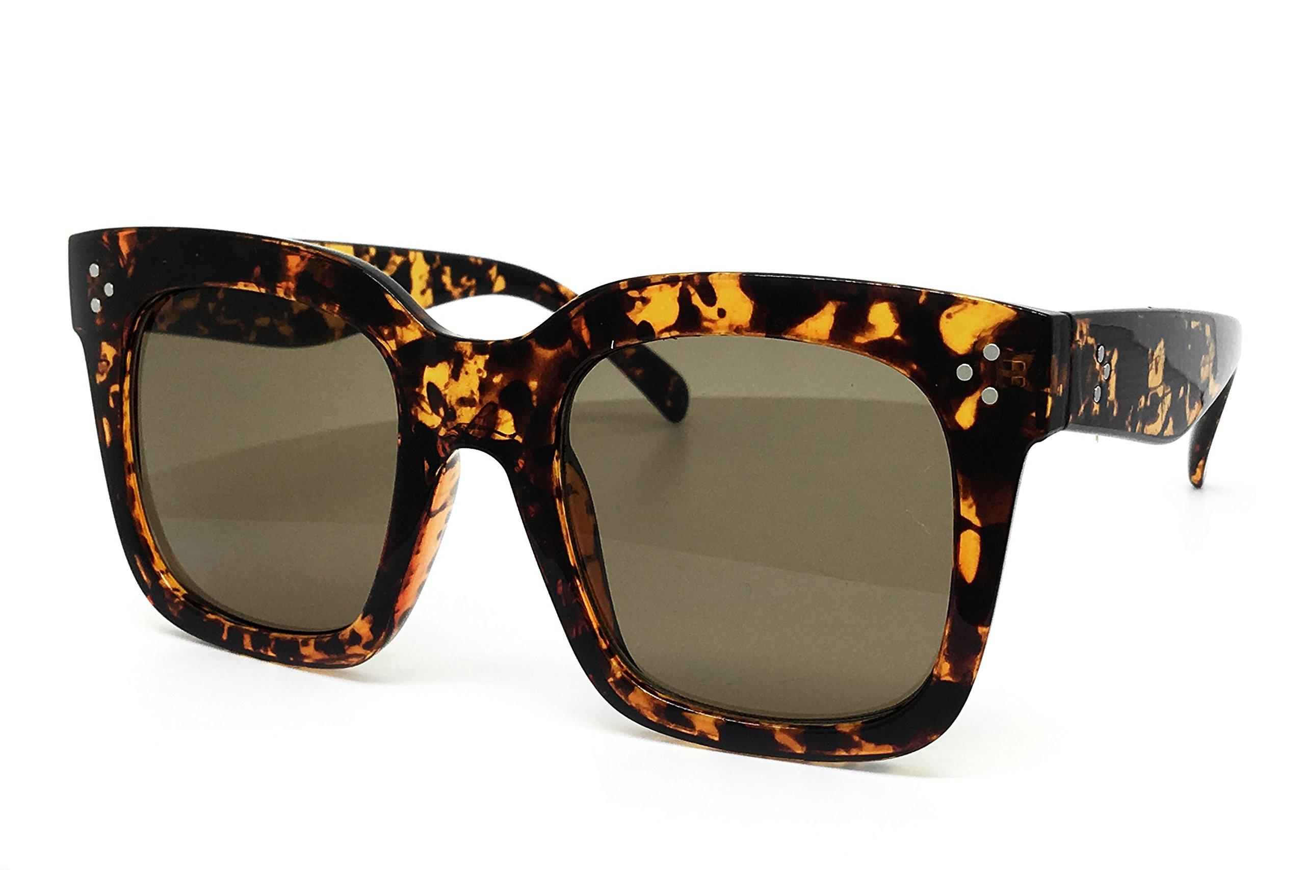 O2 Eyewear 7222 Premium Oversize XXL Women Men Mirror Fashion Sunglasses (Oversized, BROWN)