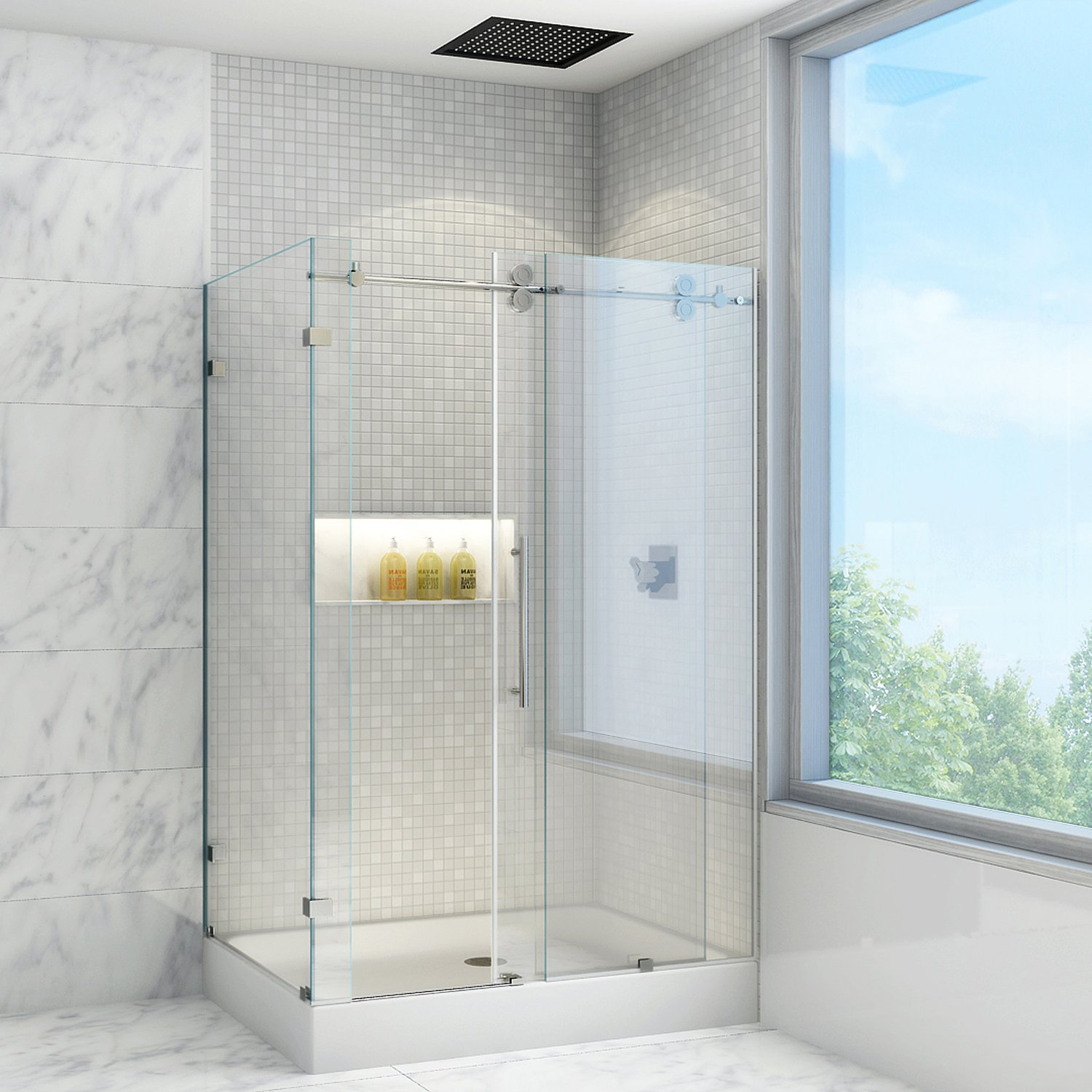 Vigo winslow 36 x 48 in frameless sliding shower enclosure with vigo winslow 36 x 48 in frameless sliding shower enclosure with 375 in clear glass and stainless steel hardware with right base included one piece eventshaper
