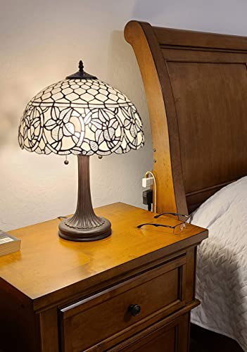 Amora Lighting Tiffany Style Table Lamp Banker 24″ Tall Stained Glass White Mahogany Elegant Vintage Antique Light D cor Nightstand Living Room Bedroom Handmade Gift AM273TL16B